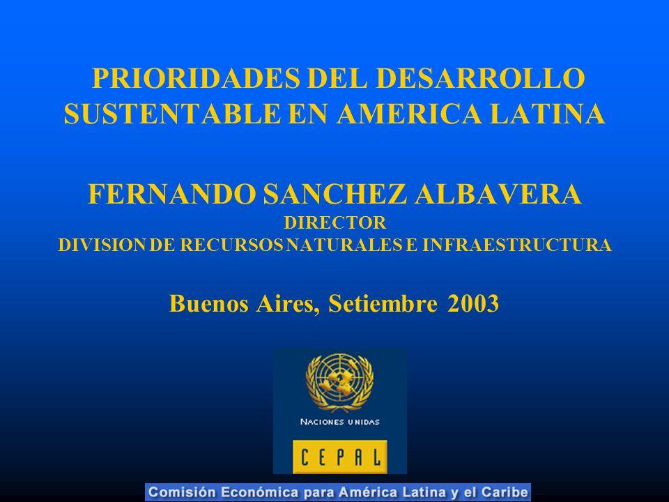 PRIORIDADES DEL DESARROLLO SUSTENTABLE EN AMERICA LATINA FERNANDO SANCHEZ ALBAVERA DIRECTOR DIVISION DE RECURSOS NATURALES E INFRAESTRUCTURA Buenos Ai