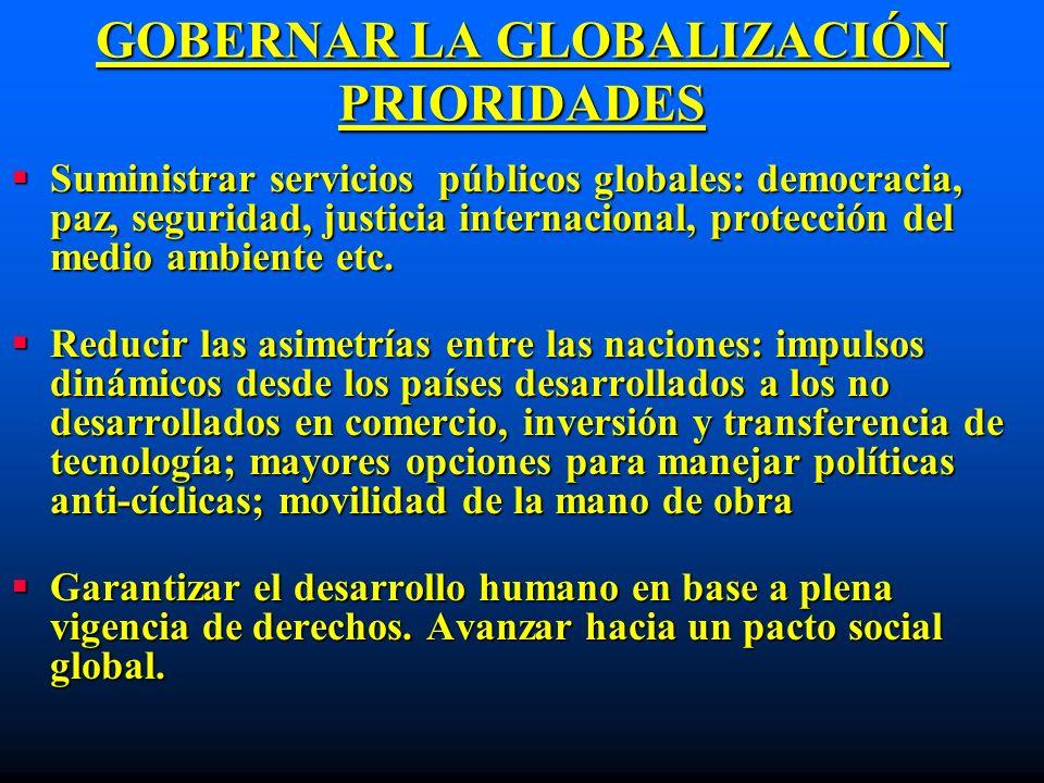 GOBERNAR LA GLOBALIZACIÓN PRIORIDADES Suministrar servicios públicos globales: democracia, paz, seguridad, justicia internacional, protección del medi