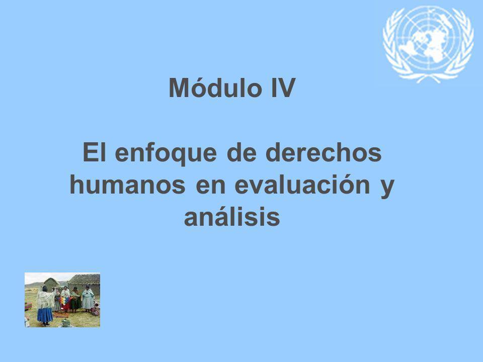 Módulo IV El enfoque de derechos humanos en evaluación y análisis