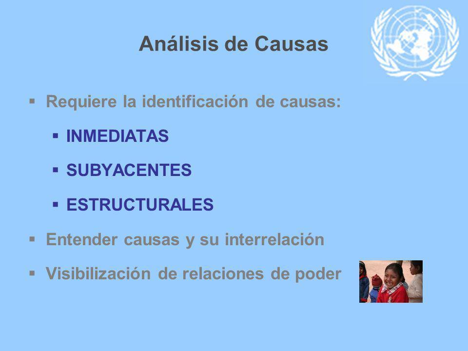 Análisis de Causas Requiere la identificación de causas: INMEDIATAS SUBYACENTES ESTRUCTURALES Entender causas y su interrelación Visibilización de rel