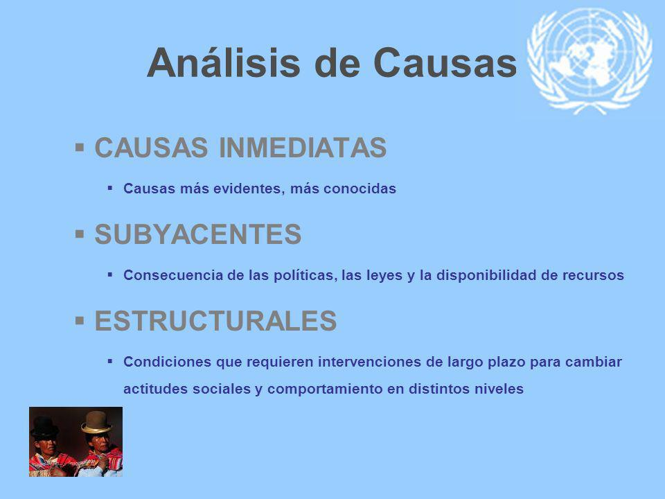 Análisis de Causas CAUSAS INMEDIATAS Causas más evidentes, más conocidas SUBYACENTES Consecuencia de las políticas, las leyes y la disponibilidad de r