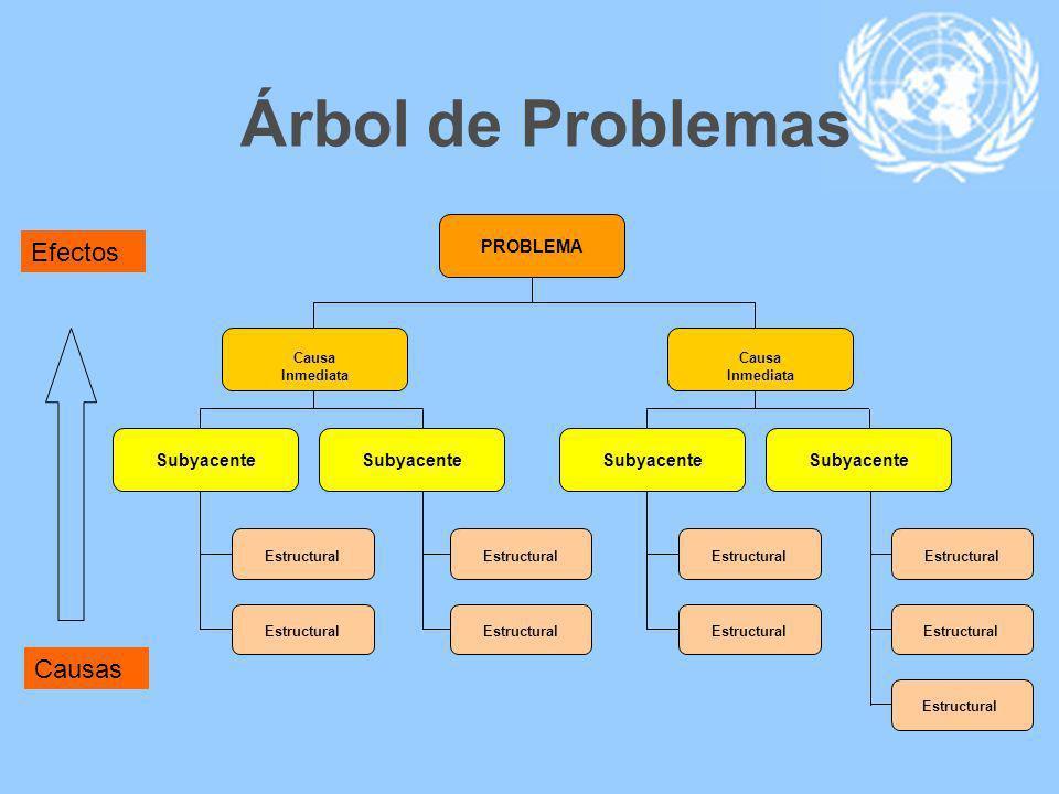 Árbol de Problemas PROBLEMA Causa Inmediata Subyacente Estructural Causa Inmediata Subyacente Estructural Efectos Causas
