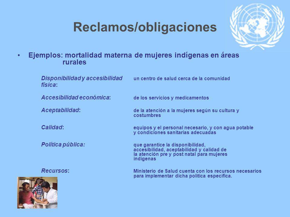 Reclamos/obligaciones Ejemplos: mortalidad materna de mujeres indígenas en áreas rurales Disponibilidad y accesibilidad un centro de salud cerca de la