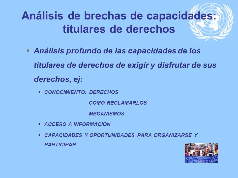 Análisis de brechas de capacidades: titulares de derechos Análisis profundo de las capacidades de los titulares de derechos de exigir y disfrutar de s
