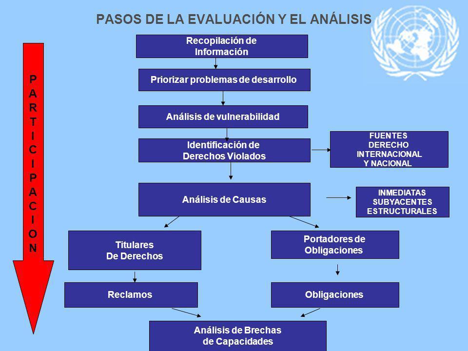 PASOS DE LA EVALUACIÓN Y EL ANÁLISIS Recopilación de Información Priorizar problemas de desarrollo Identificación de Derechos Violados FUENTES DERECHO
