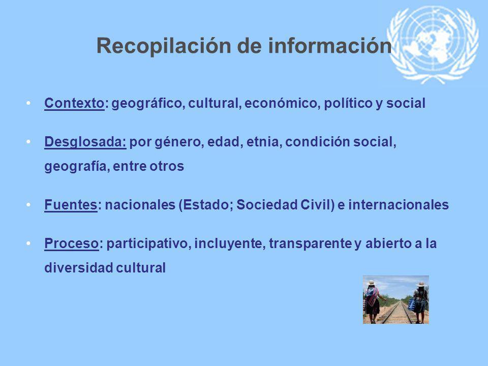 Recopilación de información Contexto: geográfico, cultural, económico, político y social Desglosada: por género, edad, etnia, condición social, geogra
