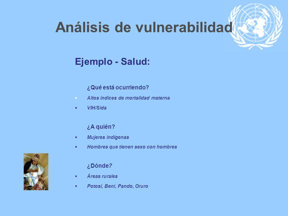 Análisis de vulnerabilidad Ejemplo - Salud: ¿Qué está ocurriendo? Altos índices de mortalidad materna VIH/Sida ¿A quién? Mujeres indígenas Hombres que