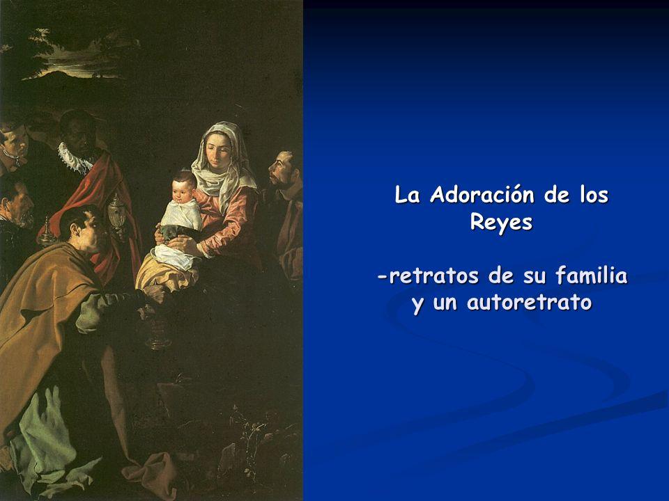 La Adoración de los Reyes -retratos de su familia y un autoretrato