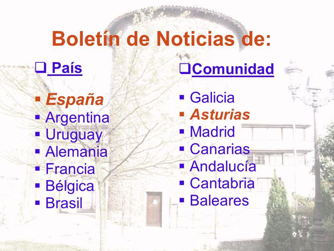 Boletín de Noticias de: País España Argentina Uruguay Alemania Francia Bélgica Brasil Comunidad Galicia Asturias Madrid Canarias Andalucía Cantabria Baleares