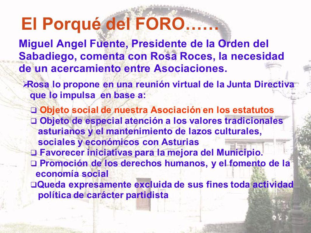 El Porqué del FORO…… Miguel Angel Fuente, Presidente de la Orden del Sabadiego, comenta con Rosa Roces, la necesidad de un acercamiento entre Asociaciones.