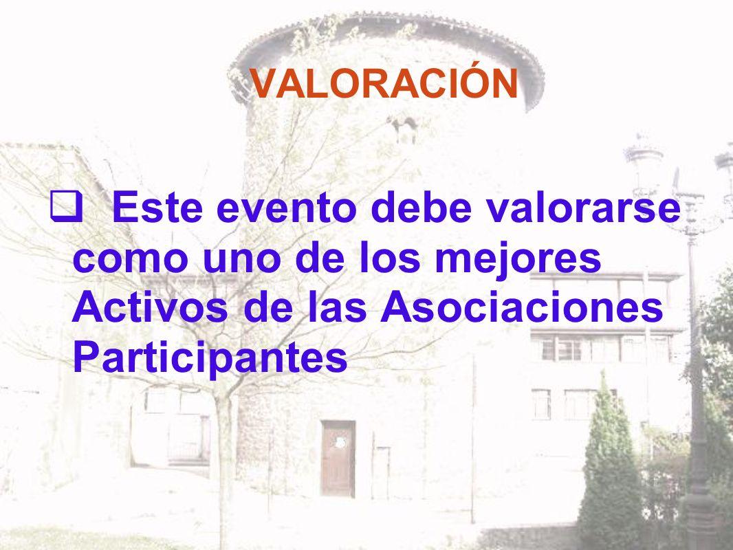VALORACIÓN Este evento debe valorarse como uno de los mejores Activos de las Asociaciones Participantes