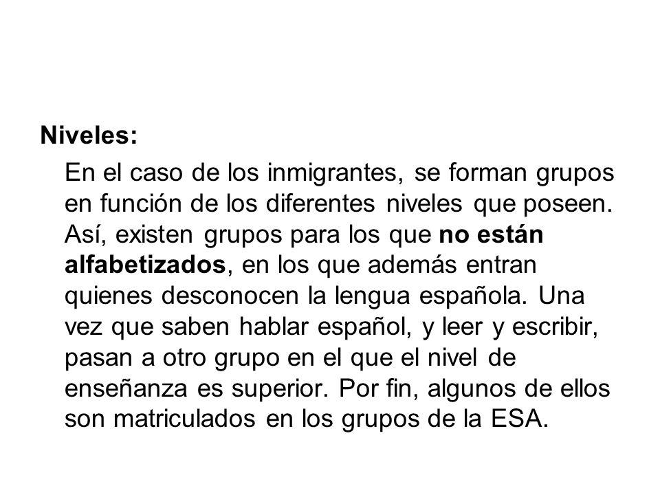 Niveles: En el caso de los inmigrantes, se forman grupos en función de los diferentes niveles que poseen. Así, existen grupos para los que no están al