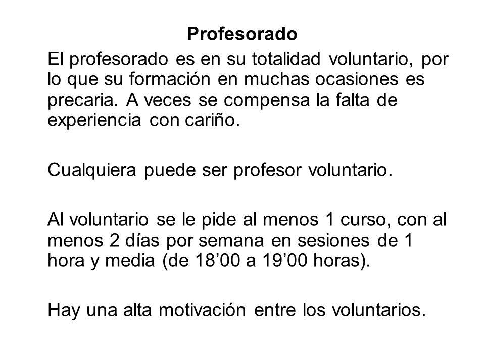 Profesorado El profesorado es en su totalidad voluntario, por lo que su formación en muchas ocasiones es precaria. A veces se compensa la falta de exp