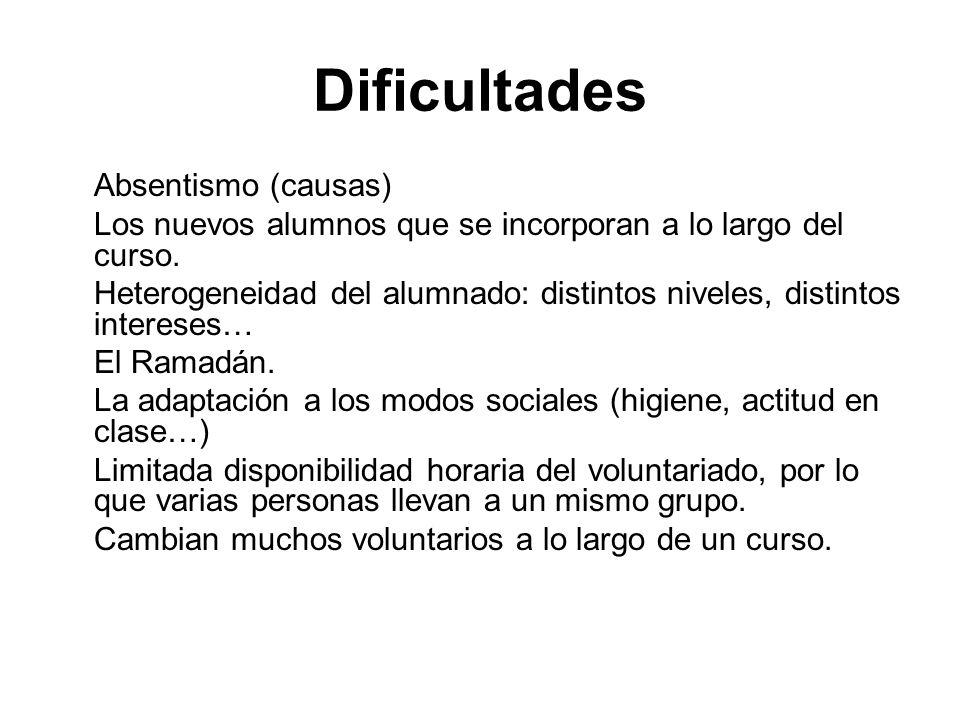 Dificultades Absentismo (causas) Los nuevos alumnos que se incorporan a lo largo del curso. Heterogeneidad del alumnado: distintos niveles, distintos