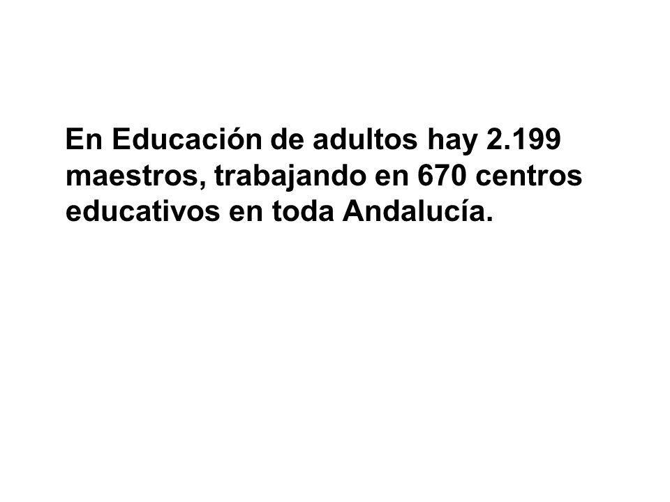 En Educación de adultos hay 2.199 maestros, trabajando en 670 centros educativos en toda Andalucía.