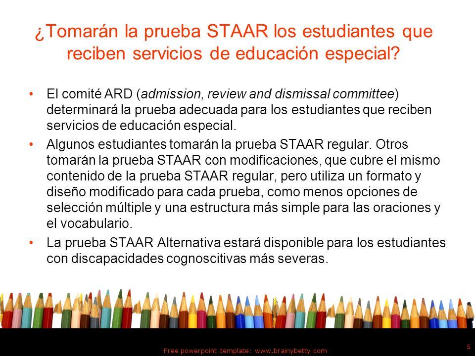 ¿Tomarán la prueba STAAR los estudiantes que reciben servicios de educación especial? El comité ARD (admission, review and dismissal committee) determ