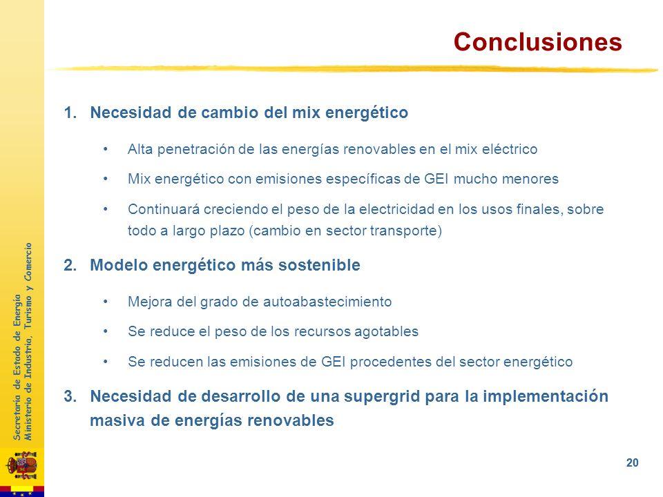 Secretaría de Estado de Energía Ministerio de Industria, Turismo y Comercio 19 1Objetivos UE 2050 2Evolución de las EERR en España 3Integración sistem