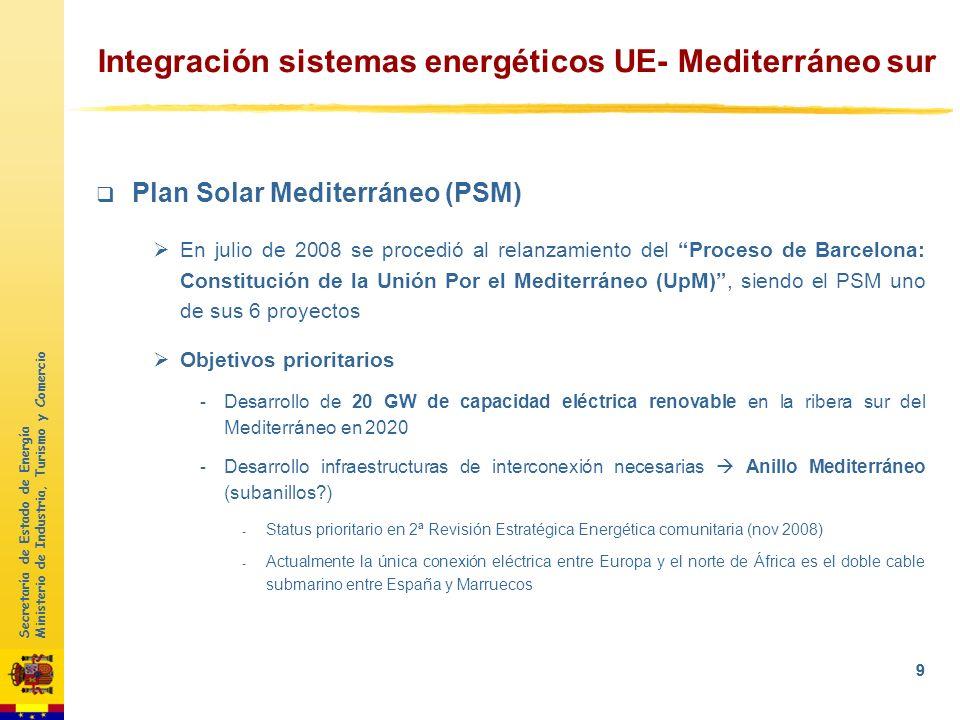 Secretaría de Estado de Energía Ministerio de Industria, Turismo y Comercio 8 1Objetivos UE 2050 2Evolución de las EERR en España 3 Integración sistem
