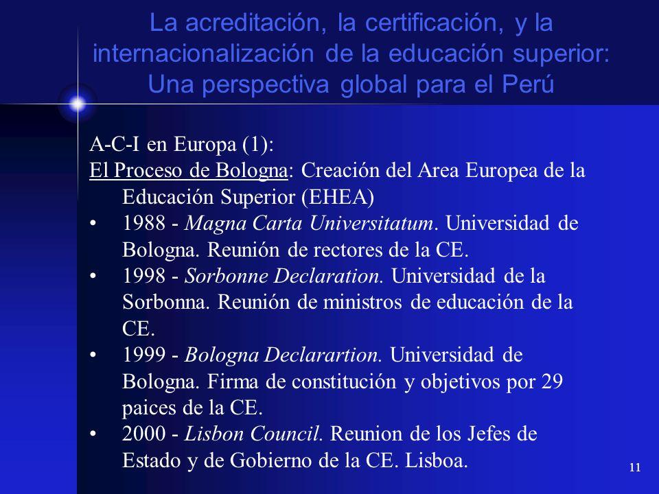 11 La acreditación, la certificación, y la internacionalización de la educación superior: Una perspectiva global para el Perú A-C-I en Europa (1): El