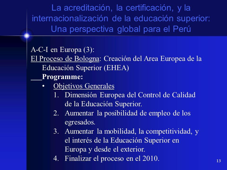 13 La acreditación, la certificación, y la internacionalización de la educación superior: Una perspectiva global para el Perú A-C-I en Europa (3): El