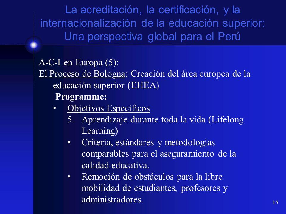 15 La acreditación, la certificación, y la internacionalización de la educación superior: Una perspectiva global para el Perú A-C-I en Europa (5): El