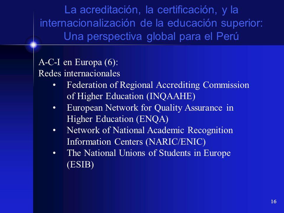 16 La acreditación, la certificación, y la internacionalización de la educación superior: Una perspectiva global para el Perú A-C-I en Europa (6): Red