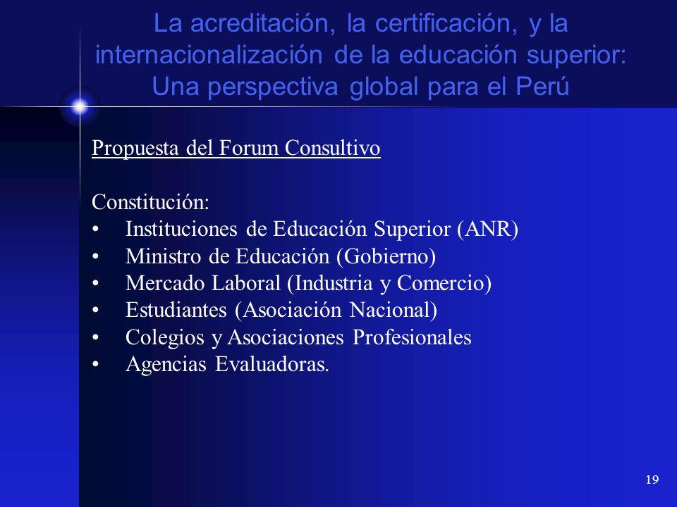 19 La acreditación, la certificación, y la internacionalización de la educación superior: Una perspectiva global para el Perú Propuesta del Forum Cons