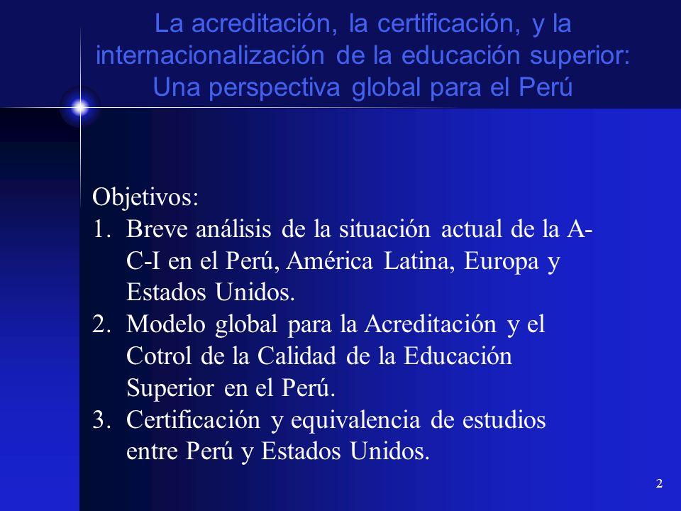 2 La acreditación, la certificación, y la internacionalización de la educación superior: Una perspectiva global para el Perú Objetivos: 1.Breve anális