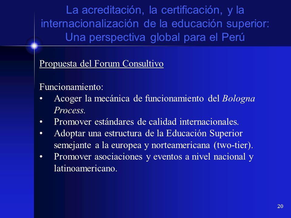 20 La acreditación, la certificación, y la internacionalización de la educación superior: Una perspectiva global para el Perú Propuesta del Forum Cons