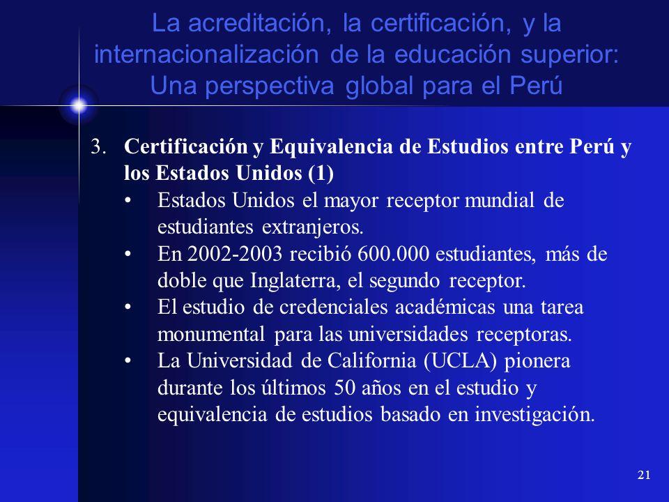 21 La acreditación, la certificación, y la internacionalización de la educación superior: Una perspectiva global para el Perú 3.Certificación y Equiva