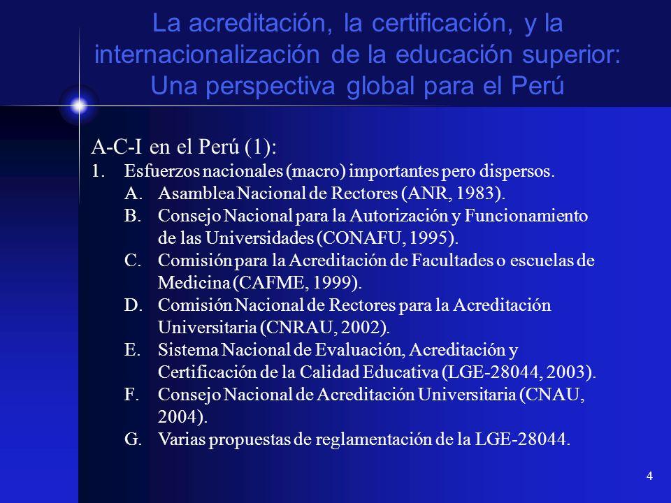 15 La acreditación, la certificación, y la internacionalización de la educación superior: Una perspectiva global para el Perú A-C-I en Europa (5): El Proceso de Bologna: Creación del área europea de la educación superior (EHEA) Programme: Objetivos Específicos 5.Aprendizaje durante toda la vida (Lifelong Learning) Criteria, estándares y metodologías comparables para el aseguramiento de la calidad educativa.