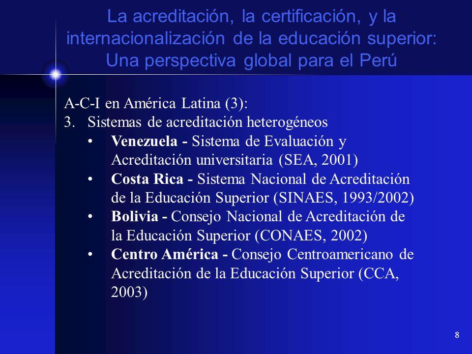 8 La acreditación, la certificación, y la internacionalización de la educación superior: Una perspectiva global para el Perú A-C-I en América Latina (