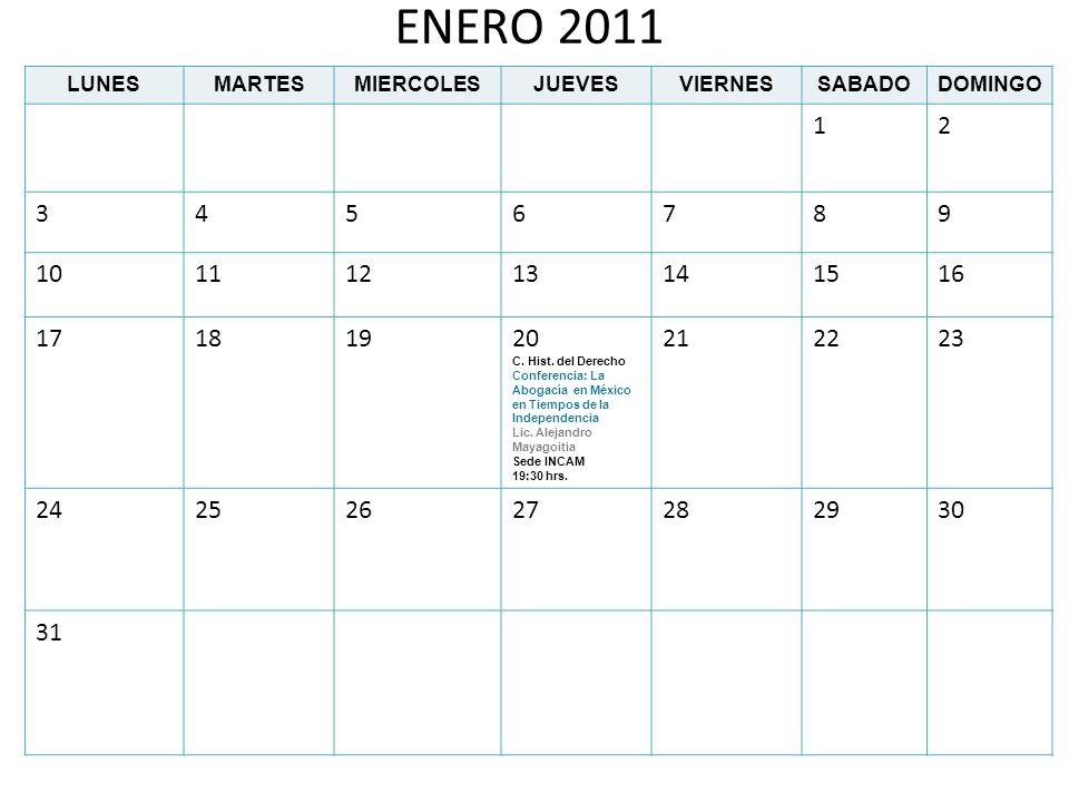 FEBRERO 2011 LUNESMARTESMIERCOLESJUEVESVIERNESSABADODOMINGO 123456 7891011 C.