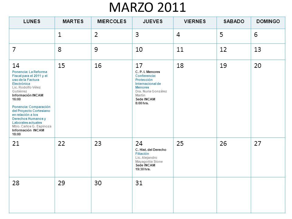 MARZO 2011 LUNESMARTESMIERCOLESJUEVESVIERNESSABADODOMINGO 123456 78910111213 14 Ponencia: La Reforma Fiscal para el 2011 y el uso de la Factura Electr