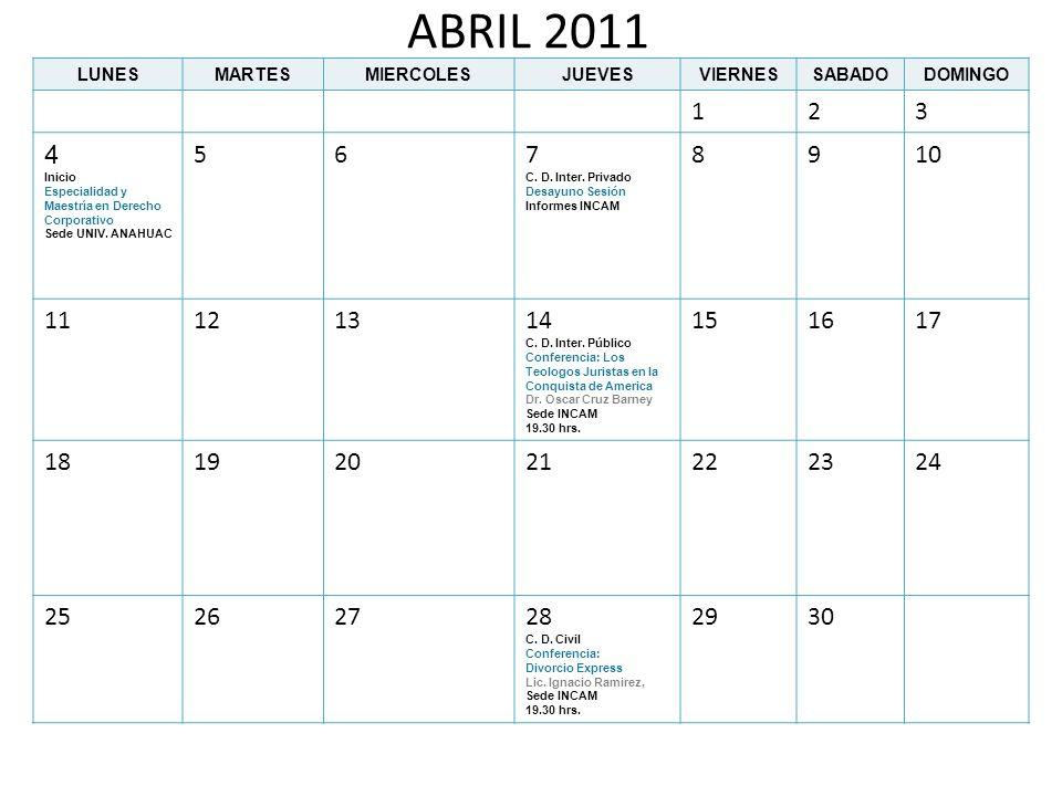 ABRIL 2011 LUNESMARTESMIERCOLESJUEVESVIERNESSABADODOMINGO 123 4 Inicio Especialidad y Maestría en Derecho Corporativo Sede UNIV. ANAHUAC 567 C. D. Int