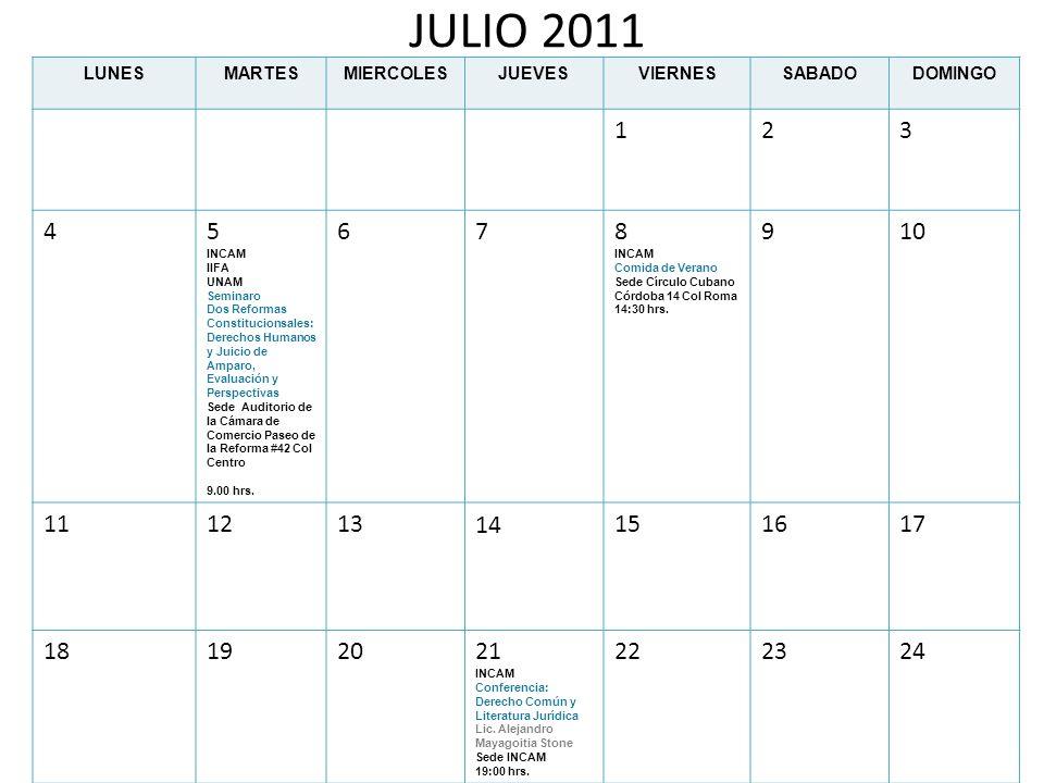 JULIO 2011 LUNESMARTESMIERCOLESJUEVESVIERNESSABADODOMINGO 123 45 INCAM IIFA UNAM Seminaro Dos Reformas Constitucionsales: Derechos Humanos y Juicio de