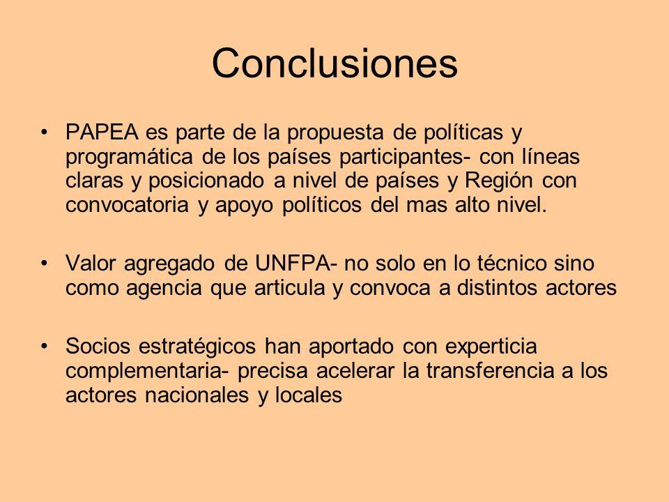 Conclusiones PAPEA es parte de la propuesta de políticas y programática de los países participantes- con líneas claras y posicionado a nivel de países