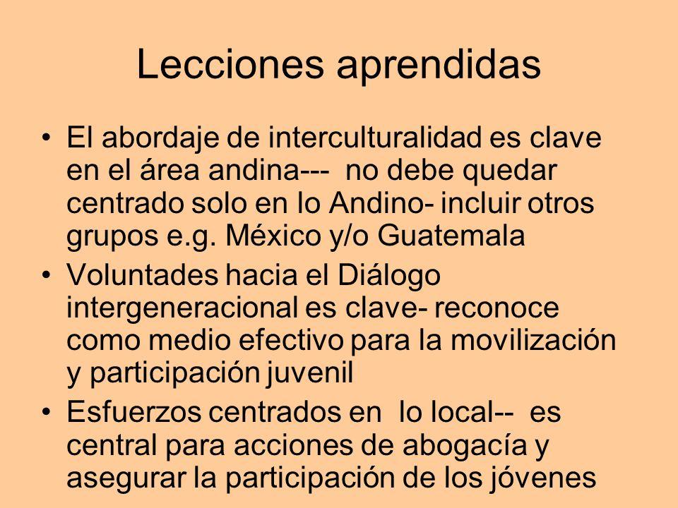 Lecciones aprendidas El abordaje de interculturalidad es clave en el área andina--- no debe quedar centrado solo en lo Andino- incluir otros grupos e.