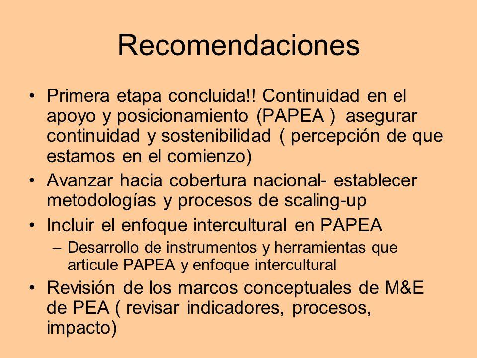 Recomendaciones Primera etapa concluida!! Continuidad en el apoyo y posicionamiento (PAPEA ) asegurar continuidad y sostenibilidad ( percepción de que