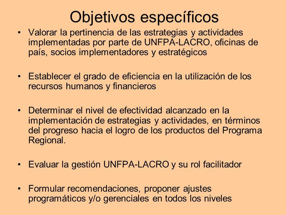 Objetivos específicos Valorar la pertinencia de las estrategias y actividades implementadas por parte de UNFPA-LACRO, oficinas de país, socios impleme