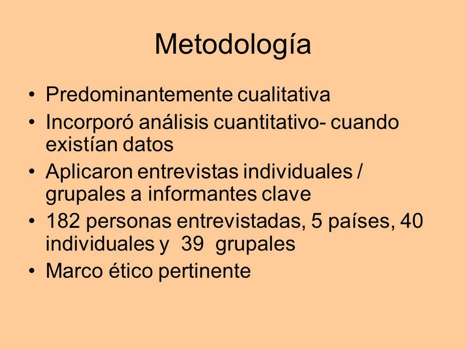 Metodología Predominantemente cualitativa Incorporó análisis cuantitativo- cuando existían datos Aplicaron entrevistas individuales / grupales a infor