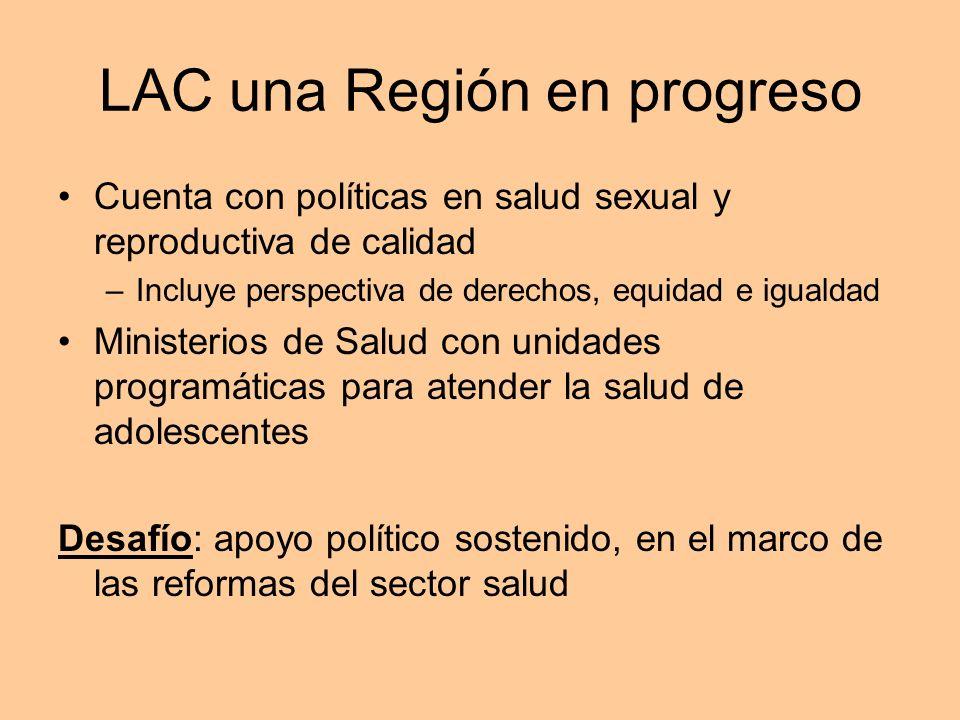 LAC una Región en progreso Cuenta con políticas en salud sexual y reproductiva de calidad –Incluye perspectiva de derechos, equidad e igualdad Ministe