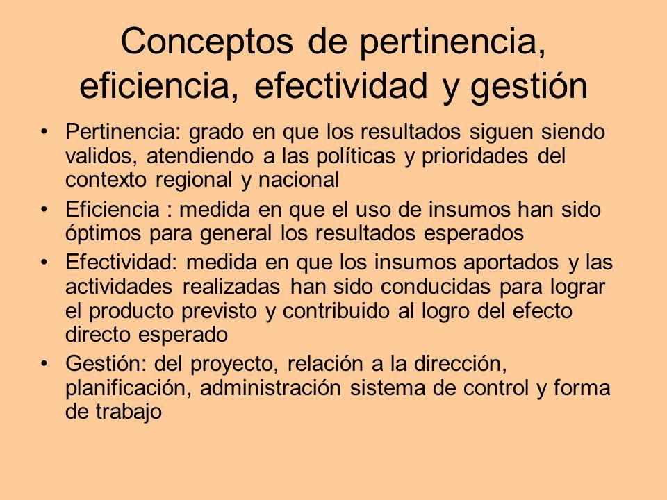 Conceptos de pertinencia, eficiencia, efectividad y gestión Pertinencia: grado en que los resultados siguen siendo validos, atendiendo a las políticas