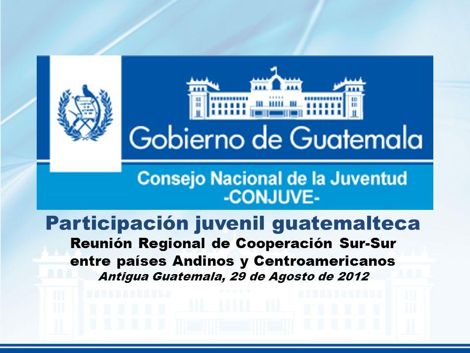 Participación juvenil guatemalteca Reunión Regional de Cooperación Sur-Sur entre países Andinos y Centroamericanos Antigua Guatemala, 29 de Agosto de