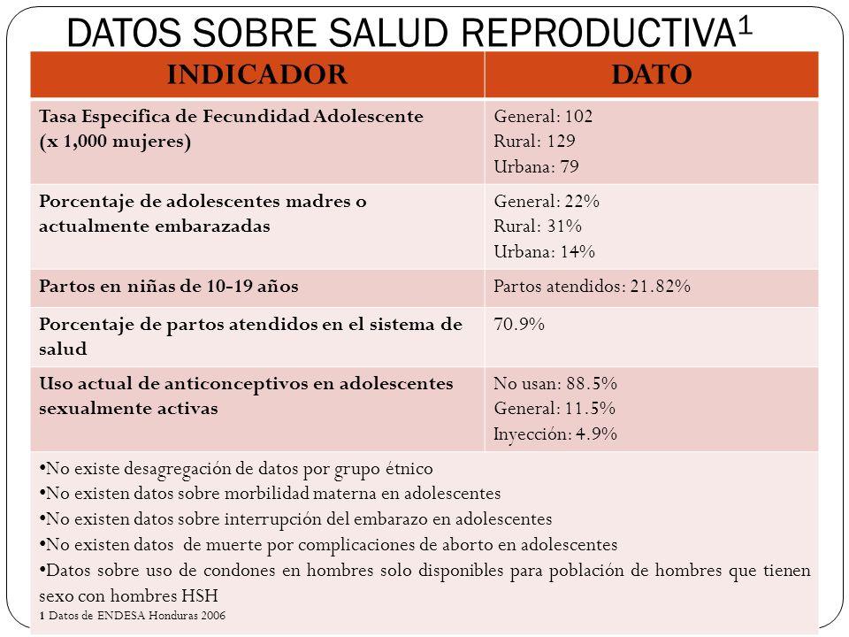 DATOS SOBRE LOS SERVICIOS DE SALUD 1 INDICADORDATOS Cobertura de consejería en anticoncepción en adolescentes 12.1% Consulta por abuso sexual y/o violencia domestica 10.5% Con una fuerte sospecha de sub- registro en este indicador Cobertura de atención prenatal en adolescentes con personal capacitado 20.12% Porcentaje de partos atendidos por personal capacitado en centros de salud 70.5% Consultas de postparto en adolescentes75.2% La falta de desagregación por franjas etarias impide la planificación y desarrollo de acciones diferenciadas No se desagregan los datos por quintil de riqueza ni grupo étnico Los datos que se registran sobre edad de matrimonio, no reflejan la realidad nacional sobre inicio de relaciones sexuales embarazo en adolescentes unidas, coaccionadas para mantener relaciones sexuales o violadas 1 Datos de ENDESA Honduras 2006