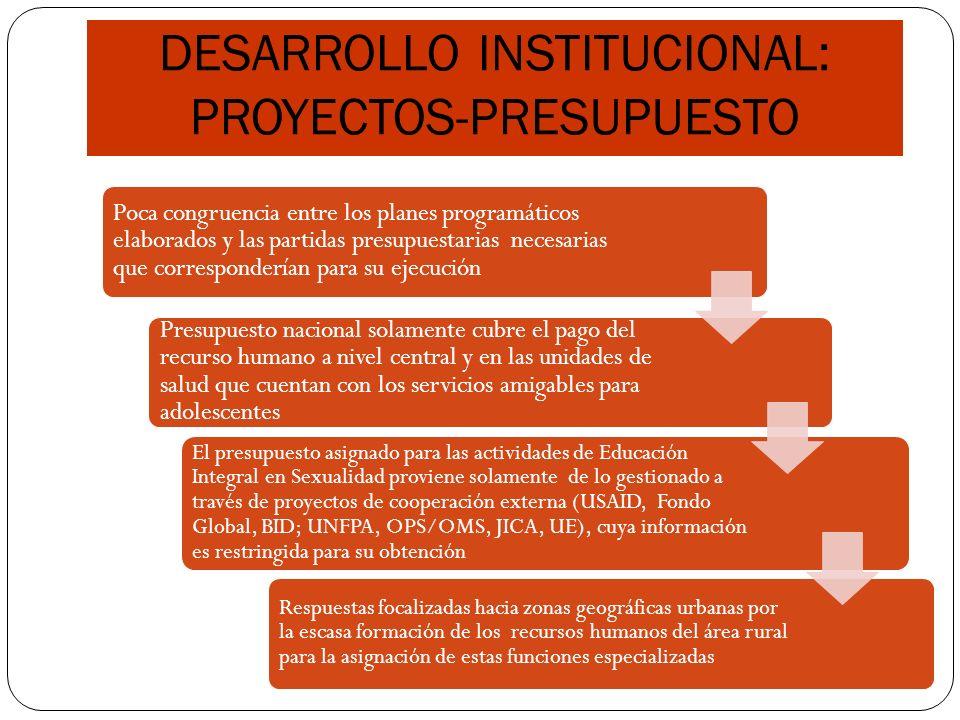 DESARROLLO INSTITUCIONAL: PROYECTOS-PRESUPUESTO Poca congruencia entre los planes programáticos elaborados y las partidas presupuestarias necesarias q