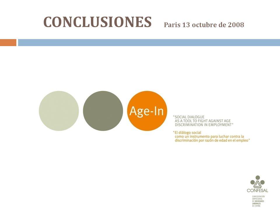 CONCLUSIONES Paris 13 octubre de 2008
