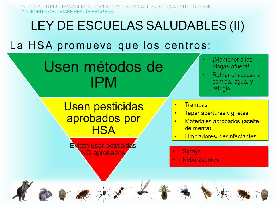 INTEGRATED PEST MANAGEMENT TOOLKIT FOR EARLY CARE AND EDUCATION PROGRAMS CALIFORNIA CHILDCARE HEALTH PROGRAM LEY DE ESCUELAS SALUDABLES (II) La HSA pr