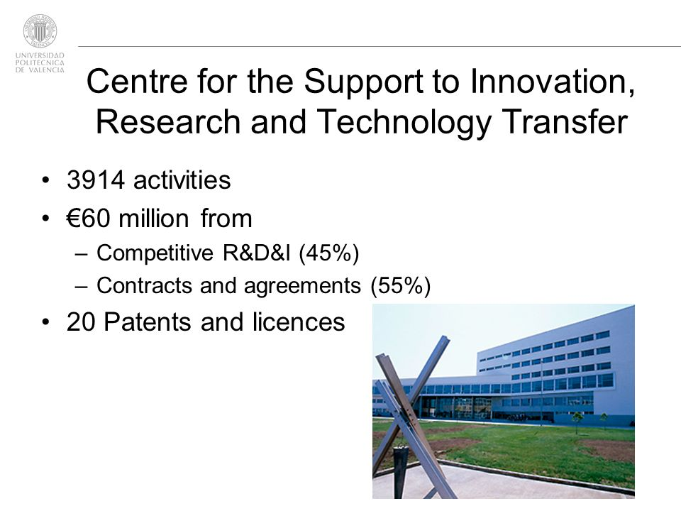 3914 activities 60 million from –Competitive R&D&I (45%) –Contracts and agreements (55%) 20 Patents and licences Centre for the Support to Innovation, Research and Technology Transfer
