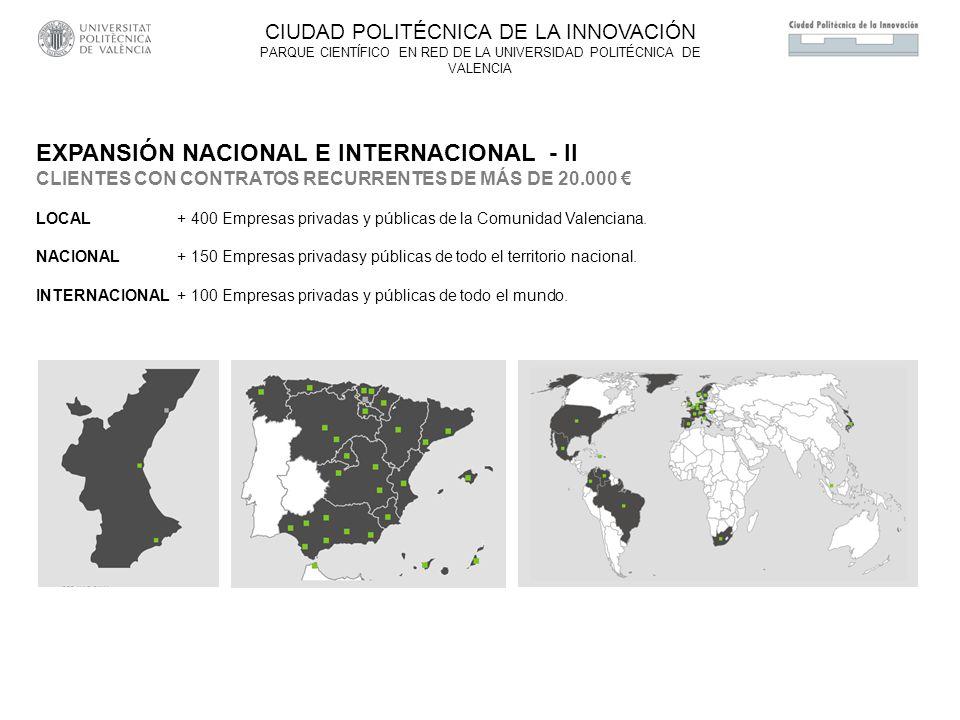 EXPANSIÓN NACIONAL E INTERNACIONAL - II CLIENTES CON CONTRATOS RECURRENTES DE MÁS DE 20.000 LOCAL + 400 Empresas privadas y públicas de la Comunidad Valenciana.
